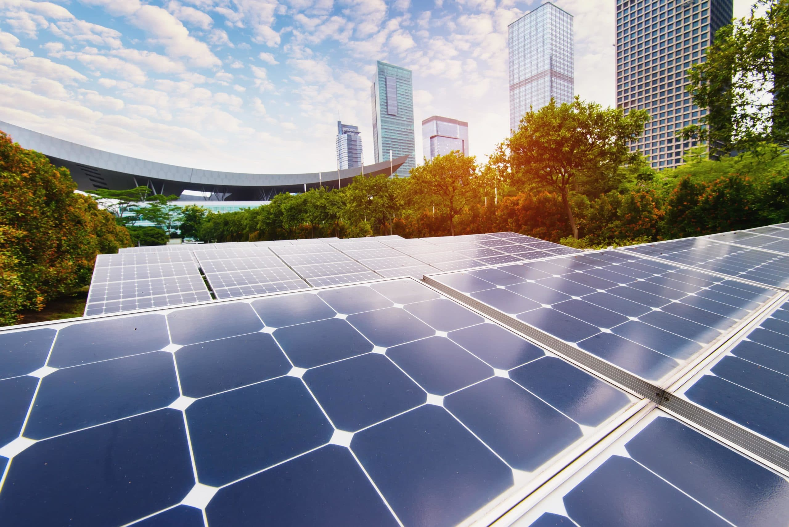Solar Panel with City in Background - Solar Panel Companies - Get Your Quote