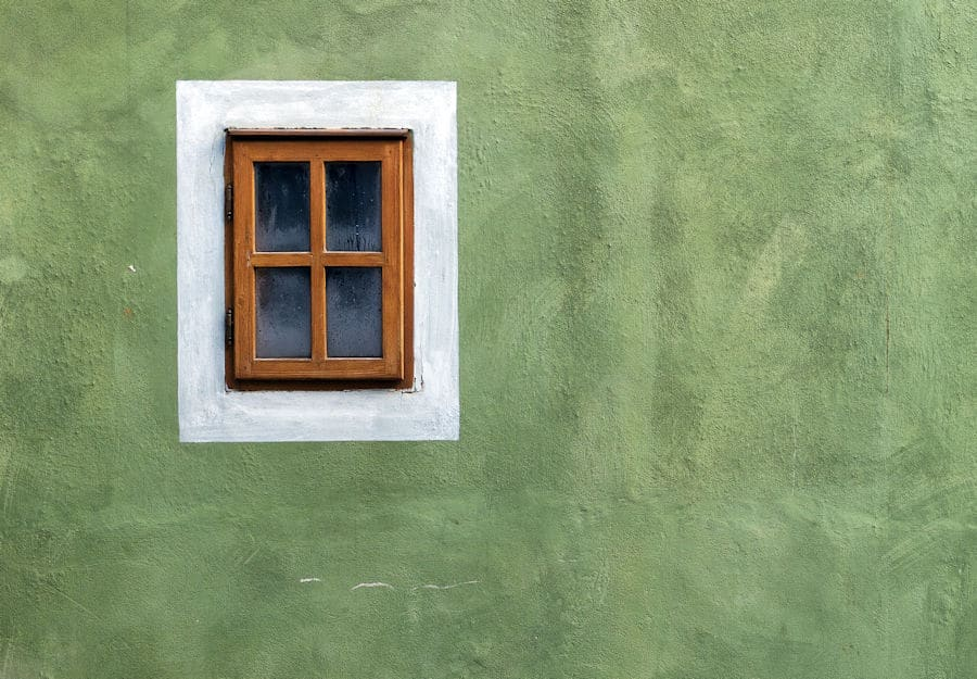 green-wall-with window frame